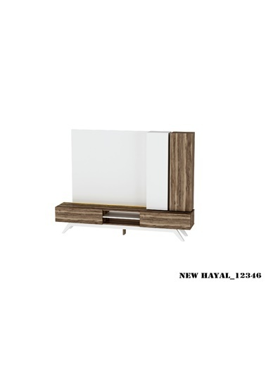 Sanal Mobilya Hayal 12346 Tv Ünitesi Leon Ceviz/Parlak Beyaz Beyaz